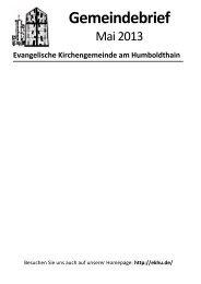 Gemeindebrief Mai 2013 - Ev. Kirchengemeinde am Humboldthain