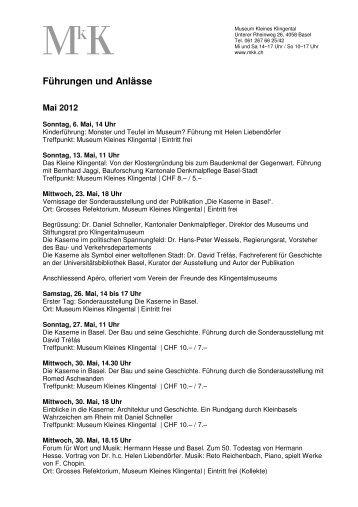 Veranstaltungen MkK 2012 Mai-Aug. - Museum Kleines Klingental
