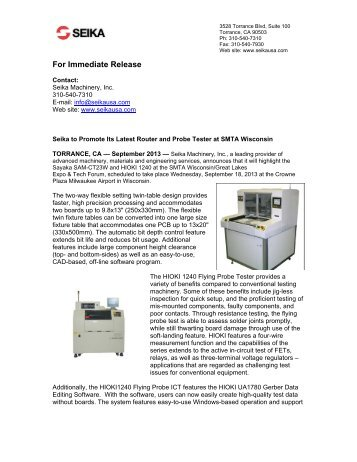 Seika to Promote Its Latest Router and Probe Tester at ... - Circuitnet