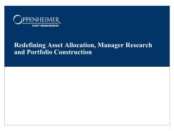 Asset Allocation - Oppenheimer & Co. Inc.