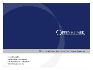 John Coombs Bio & Presentation - Oppenheimer & Co. Inc.