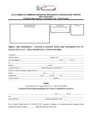 ALLA CAMERA DI COMMERCIO INDUSTRIA ARTIGIANATO E ...