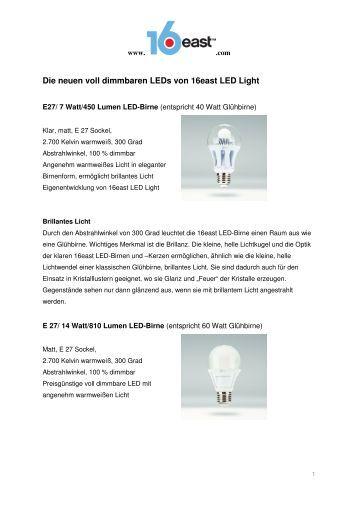 Die neuen voll dimmbaren LEDs von 16east LED Light
