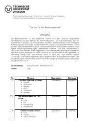 Themen für das Bachelorseminar WS 09/10