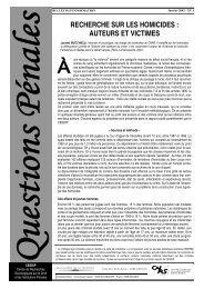 RECHERCHE SUR LES HOMICIDES : AUTEURS ET ... - Cesdip