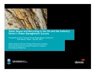 Water Reuse and Recycling in the Oil and Gas Industry: Devon's ...
