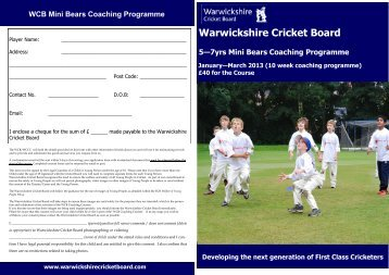 Mini Bears Booking Form (pdf) - Warwickshire County Cricket Club