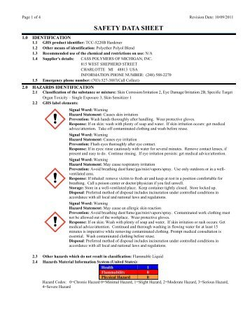 Hardener Material Safety Data Sheet - Tool Chemical Company