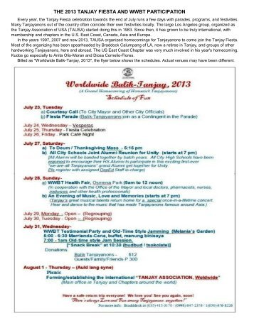 THE 2013 TANJAY FIESTA AND WWBT PARTICIPATION