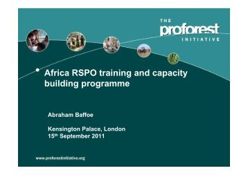 Africa RSPO training and capacity building programme
