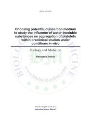 Choosing potential dissolution medium to study the influence of ...