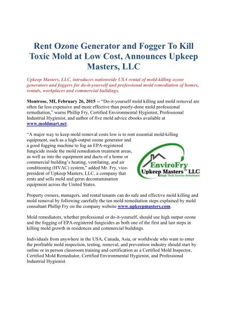Ozone Generator And Fogger To Kill Toxic Mold At Low Cost Announces Upkeep Masters Llc