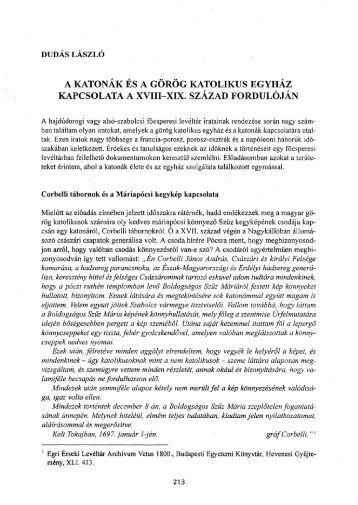 a katonák és a görög katolikus egyház kapcsolata a xviii-xix. század ...