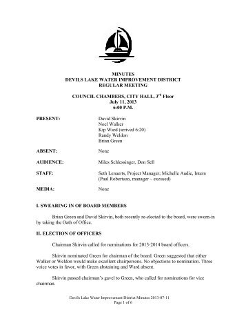 MINUTES DEVILS LAKE WATER IMPROVEMENT DISTRICT ...