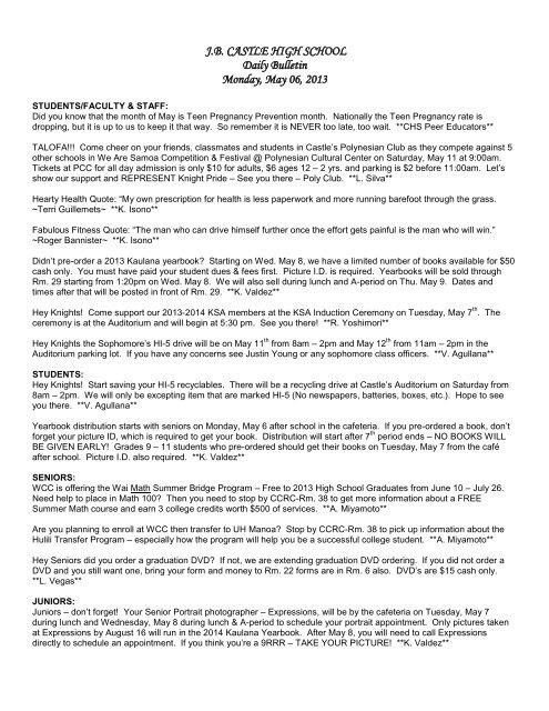 J B  CASTLE HIGH SCHOOL Daily Bulletin Monday, May 06, 2013