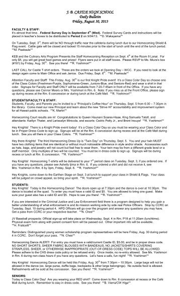 J.B. CASTLE HIGH SCHOOL Daily Bulletin Thursday August 30, 2012