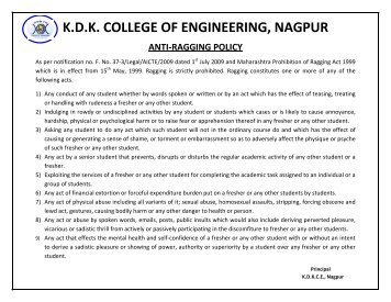Anti-ragging Policy - KDK College of Engineering