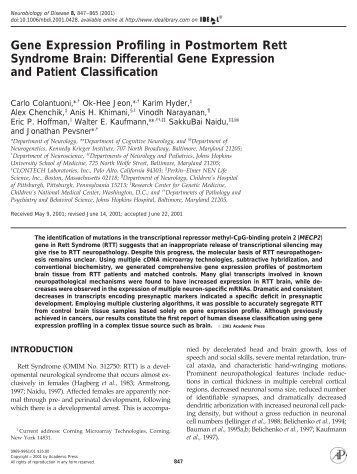 Gene Expression Profiling in Postmortem Rett Syndrome Brain ...