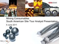 Mining Consumables South American Site Tour Analyst ... - OneSteel