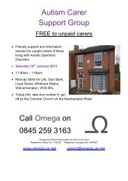 Autism Carer Support Group Call Omega on 0845 259 3163 - uk.net