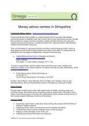 Free money advice centres in Shropshire - Omega - uk.net