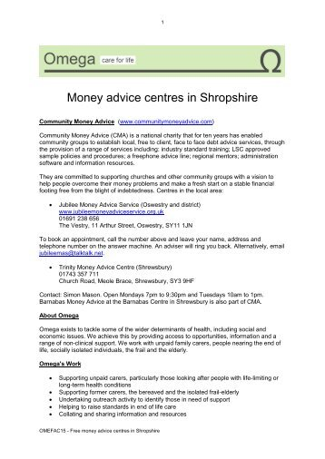 Free money advice centres in Shropshire - Omega - uk.net