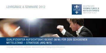 LEHRGÄNGE & SEMINARE 2012 - Deutsches Verwaltungs