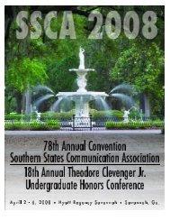 SSCA 2008 Convention Program - Southern States Communication ...