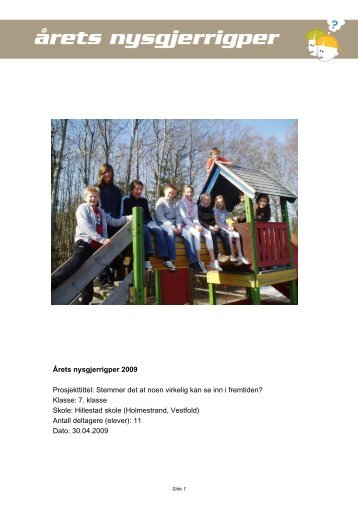 Last ned prosjektrapport (pdf) - Nysgjerrigpermetoden.no