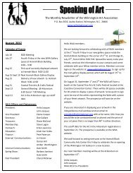 August 2012 The Monthly Newsletter of the Wilmington Art Association