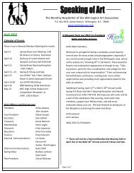 April 2012 The Monthly Newsletter of the Wilmington Art Association