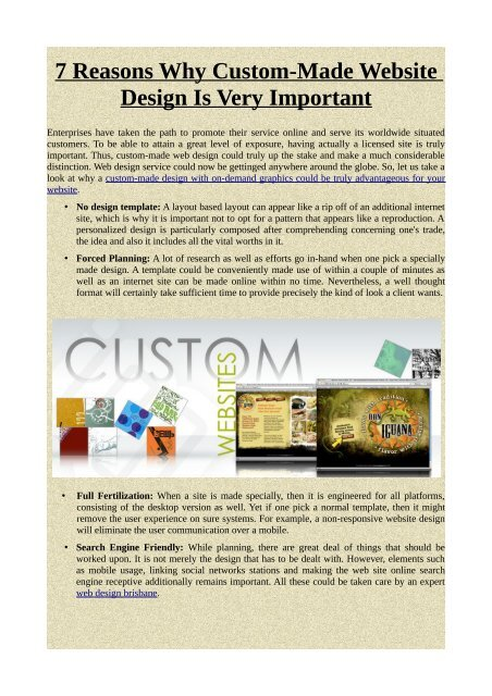 7 Reasons Why Custom-Made Website Design Is Very Important