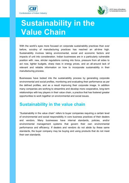 Sustainability in the Value Chain - CII - ITC Centre of Excellence