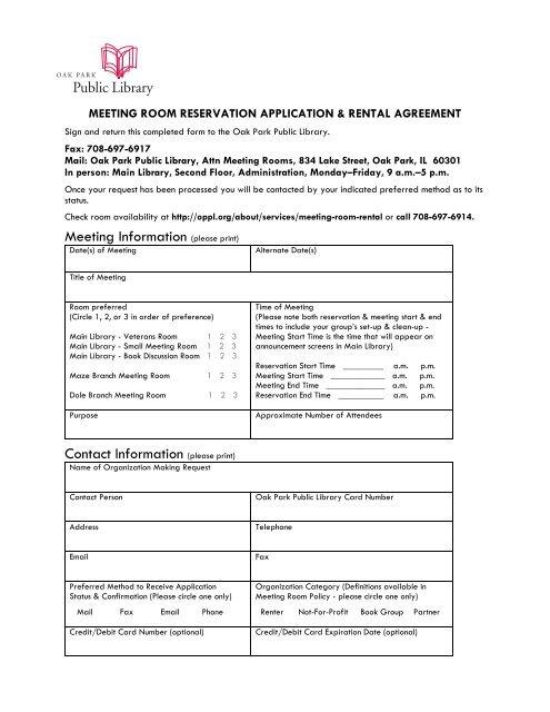 Meeting Room Reservation Application Rental Agreement