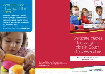 Childcare places for two year olds in South Gloucestershire