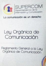 LEY ORGÁNICA DE COMUNICACIÓN VIGENTE EN ECUADOR (2013)