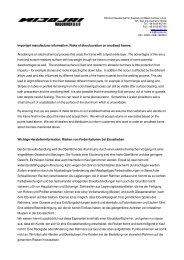 Important manufacturer information: Risks of discolouration on ...