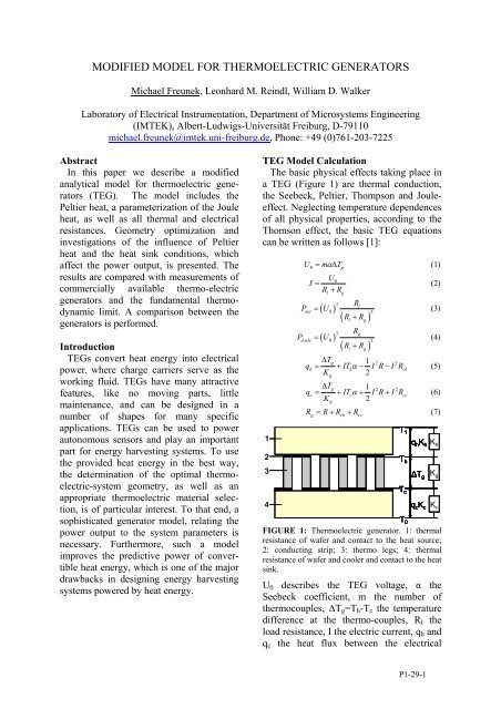 Modified Model for Thermoelectric Generators - ECT2008