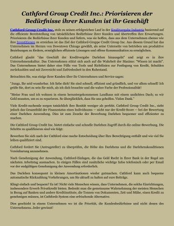 Cathford Group Credit Inc.: Priorisieren der Bedürfnisse ihrer Kunden ist ihr Geschäft