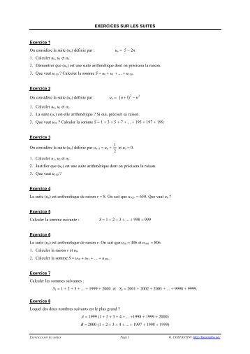exercices sur les suites arithmétiques