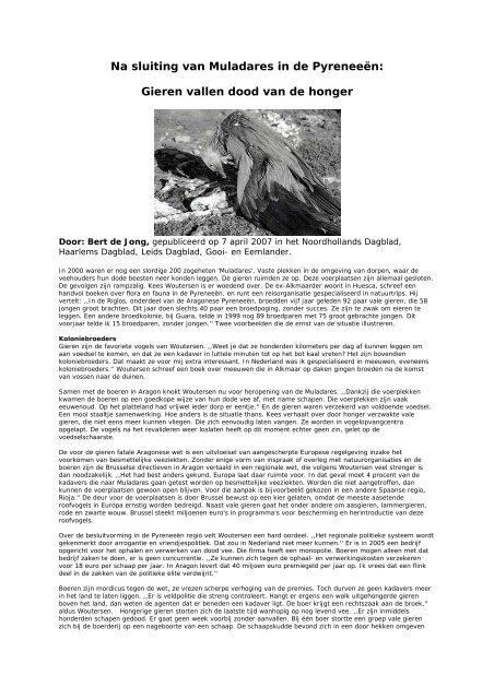 Na sluiting van Muladares in de Pyreneeën - Dood Doet Leven
