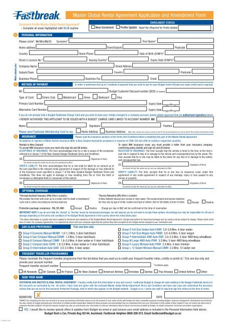 Master Global Rental Agreement Application And Amendment Form