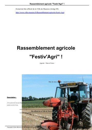 """Rassemblement agricole """"Festiv'Agri"""" ! - Ville de Mazeres"""