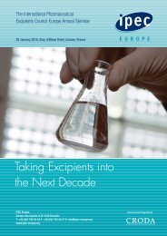 Taking Excipients into the Next Decade - IPEC Europe