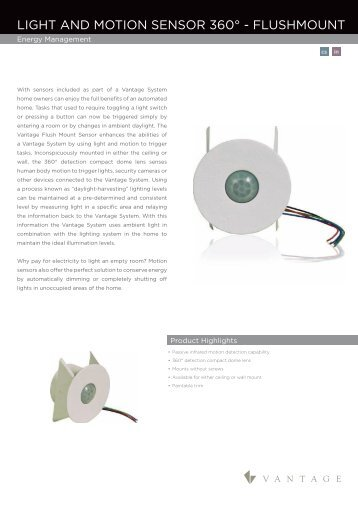 Flushmount Light And Motion Sensor360 Cutsheet - Vantage