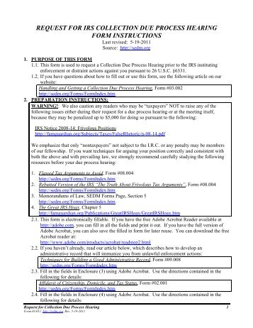 Model Due Process Complaint/Request for Hearing Form - COOR ISD