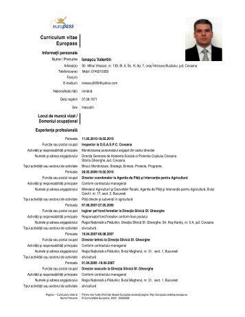 Curriculum vitae Europass - Prefectura Judeţului Covasna