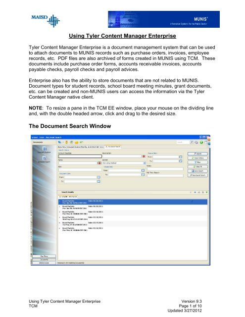Using Tyler Content Manager Enterprise The Document Search