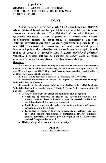 Anunt examen de promovare - Prefectura Judeţului Covasna