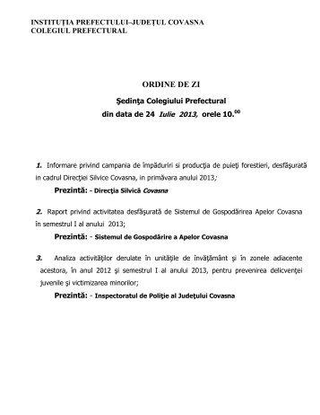 Colegiul Prefectural 24.07.2013 - Prefectura Judeţului Covasna